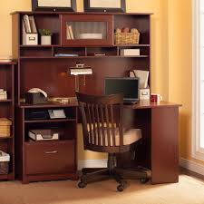 Wood Corner Desk With Hutch Bush Furniture Cabot Corner Desk With Hutch Harvest Cherry