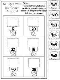 ice cream scoop multiplication worksheets 2nd grade 4th grade math