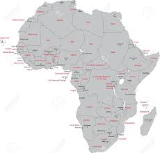 Map Of Africa Countries Africa Map With Countries And Capital Cities Royalty Free Cliparts