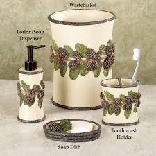 Porcelain Bathroom Accessories Sets Pinehaven Rustic Pine Cone Bath Accessories