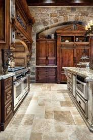 Tuscan Style Flooring Rustic Kitchen Style Wooden Cabinets Stone Walls Kitchen