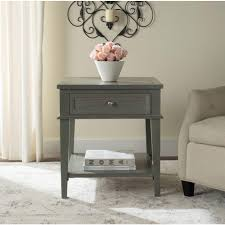 ballard designs sidney side table with charging station by manelin ash gray storage end table