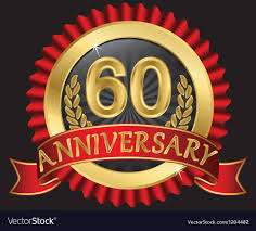 60 years anniversary 60 years anniversary golden label with ribbons vector image