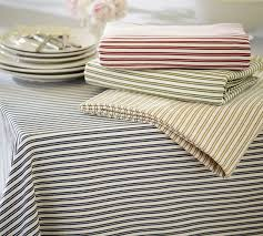 pottery barn table linens thatcher ticking stripe tablecloth pottery barn