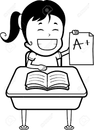 Student At Desk by A Happy Cartoon Girl Student With Good Grades Royalty Free