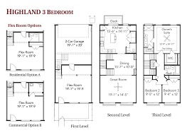 3 story townhouse floor plans highland bedroom live work townhome berry far floor plans home