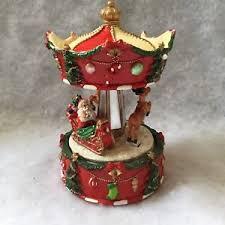carousel reindeer rotating musical box gisela graham