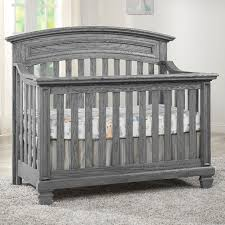 cribs that convert oxford baby richmond 4 in 1 convertible crib brushed grey