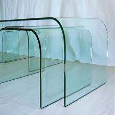 center tables vintage large curved glass center tables from fiam set of 3 for