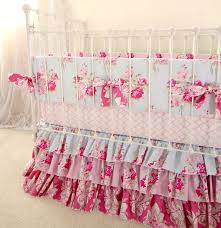 ruffle girls bedding pink and blue roses baby crib bedding shabby chic baby