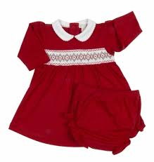 Kissy Kissy Baby Girls Red Smocked Christmas Dress with Diaper Cover