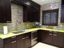Moroccan Tile Backsplash Eclectic Kitchen Lime Green Countertops Combined With Black Cabinets And Metallic
