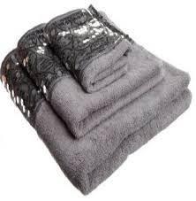 sinatra silver 3 piece bath towel hand towel and wash cloth set