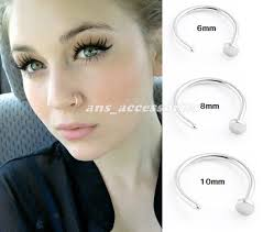 nose rings small images Small silver nose hoop ring stud 6mm 8mm from ansaccessories on jpg