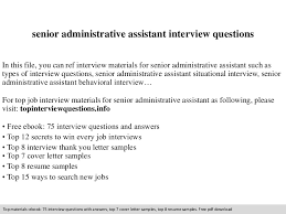 Resumes For Administrative Assistants Senior Administrative Assistant Interview Questions
