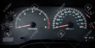 car dashboard simple car dashboard tachometer and speedometer close up stock