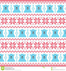 winter christmas red and bear seamless pixelated pattern with