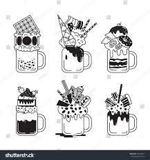 cocktail clipart black and white set giant milkshakes black white style stock vector 442485571