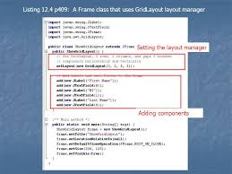 java null layout manager swing introduction to gui programming in java frames simple components