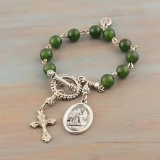rosary bracelet jade rosary bracelet green gemstone guardian angel medal