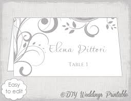 Table Card Template by Printable Place Card Template Gray Scroll Name