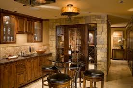 Wall Bar Table Pub Tables And Chairs For Traditional Home Bar With Stone Wall