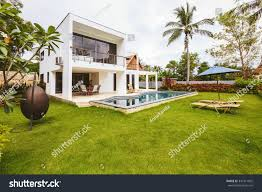 luxury villa swimming pool outside exterior stock photo 347311892