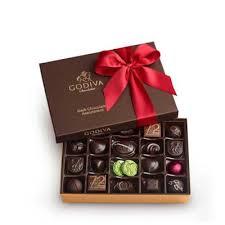 dark chocolate gift box gold ribbon 27 pc godiva