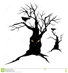 Halloween Silhouettes Free Raven And Halloween Tree Stock Vector Image 74589942