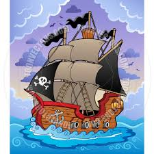 cartoon pirate ship in stormy sea by clairev toon vectors eps 37542