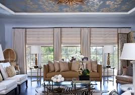 Curtain Rod Roman Shades - ceiling curtain rods living room transitional with roman shades