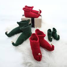 crocheted christmas elf boots by eka notonthehighstreet com