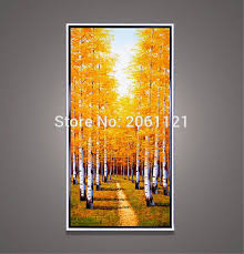 Fall Tree Decorations Aliexpress Com Buy Large Canvas Art Cheap Hand Painted Autumn