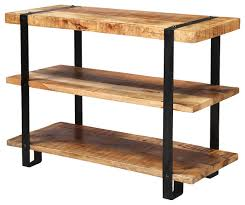 Industrial Bookcases Industrial Rustic Mango Wood 3 Tier Open Back Bookcase