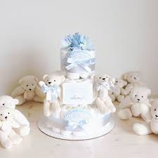 Baby Boy Shower Centerpieces by Twins Polar Bear Diaper Cake With Soft Toy Baby Boy Shower