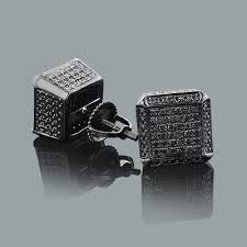 mens black diamond earrings diamond cube earrings 0 50ct silver black pvd