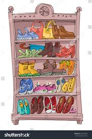 shoe rack full fashionable shoes sandals stock vector 675060553