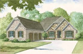 large european house plan with 3 car courtyard entry garage