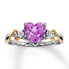 large amethyst diamond white gold kay amethyst heart ring diamond accent 10k white gold