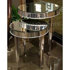 mirrored end table set amazon com round mirrored side accent end tables set of 2 art