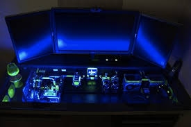 Custom Desk Computer Glowing Floating Computer Desk With Custom Pc Beneath The Glass