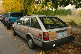 nissan datsun hatchback old parked cars woodgrain wagon 1983 datsun nissan sentra