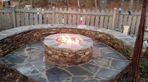 Outdoor Gas Fire Pit Furniture Round Stone Gas Patio Fire Pit Table With Rounfd Bench