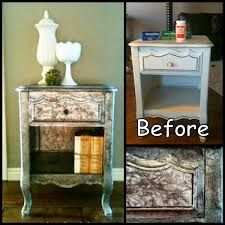 Silver Leaf Nightstand Use Dollar Store Tin Foil As Faux Silver Leaf For A Nightstand
