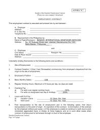 doc 600730 standard employment contract u2013 sample employment