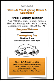 westside thanksgiving dinner celebration thanksgiving day nov 23nd