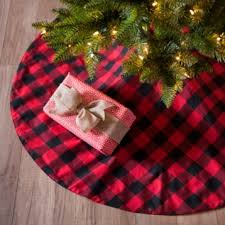 plaid tree skirt and black buffalo check tree skirt kirklands