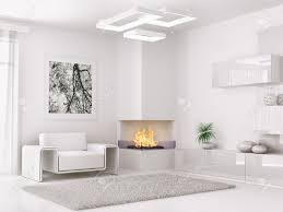 interior of modern white room with armchair and fireplace 3d