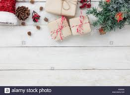 table top view of ornaments and decoration merry and happy