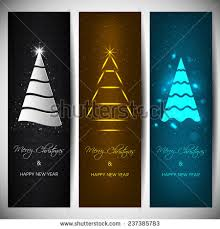 set vertical banners stylish tree stock vector 237377581